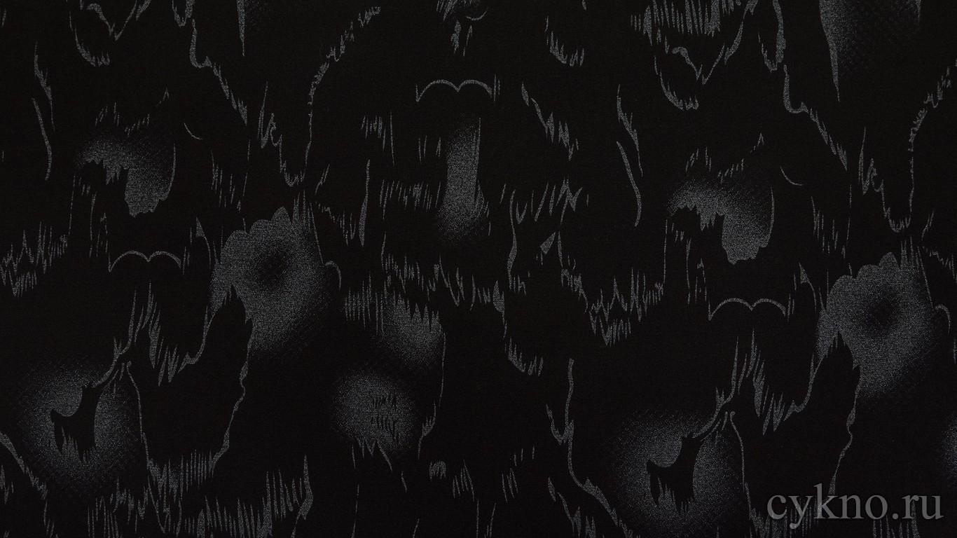 """Ткань Костюмная """"Серебряная абстракция на черном"""""""