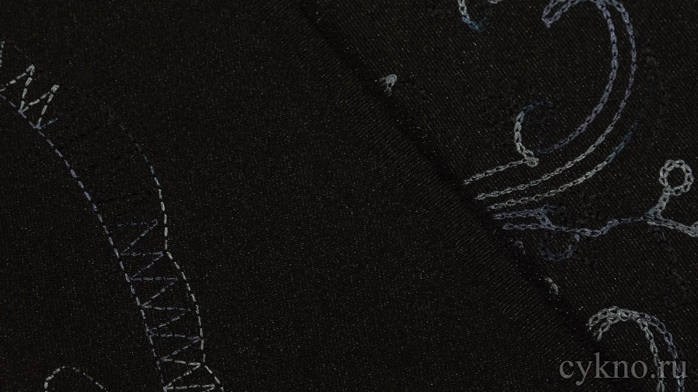 """Ткань Костюмная """"Синие нити на черном"""""""