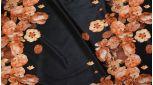 Кожзам черный с цветочным принтом