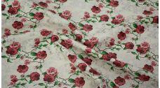 """Кожзам с принтом """"Красные розы с черепами"""""""