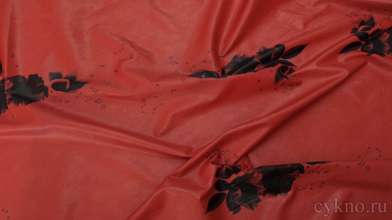 Кожзам красный с цветочным принтом