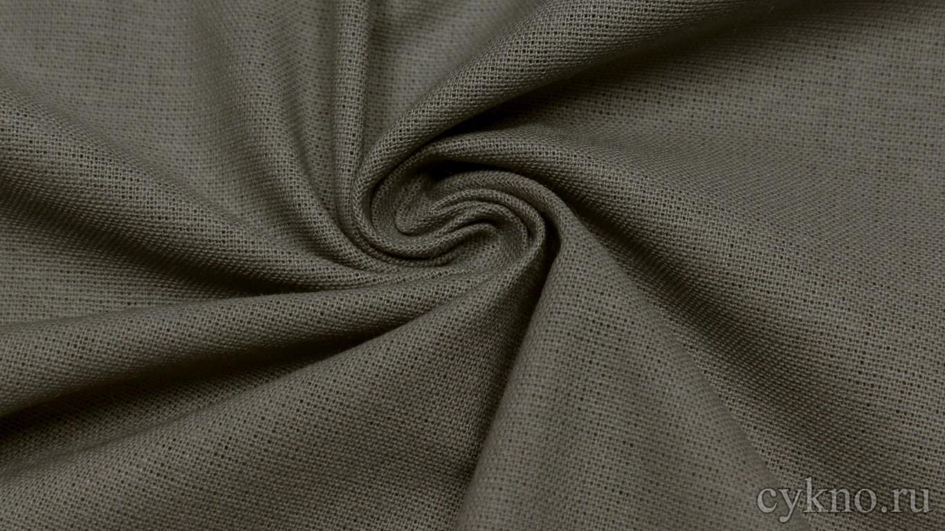 Ткань Лен бежево-серый