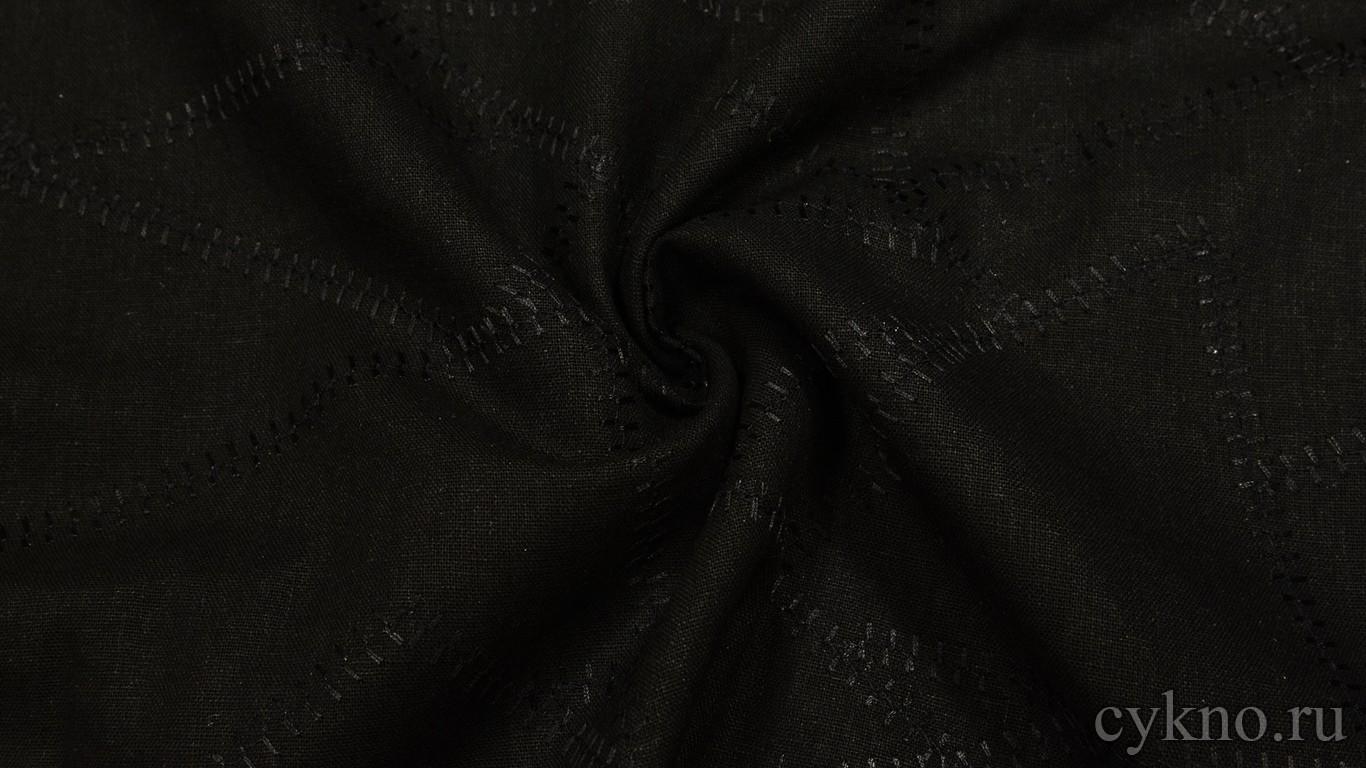Ткань Лен черный с прошитой нитью