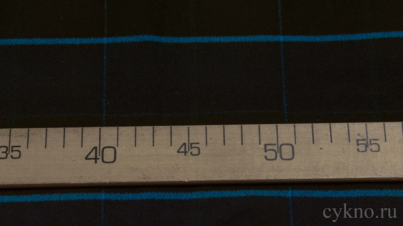 Ткань Пальтовая полоска сине-черная