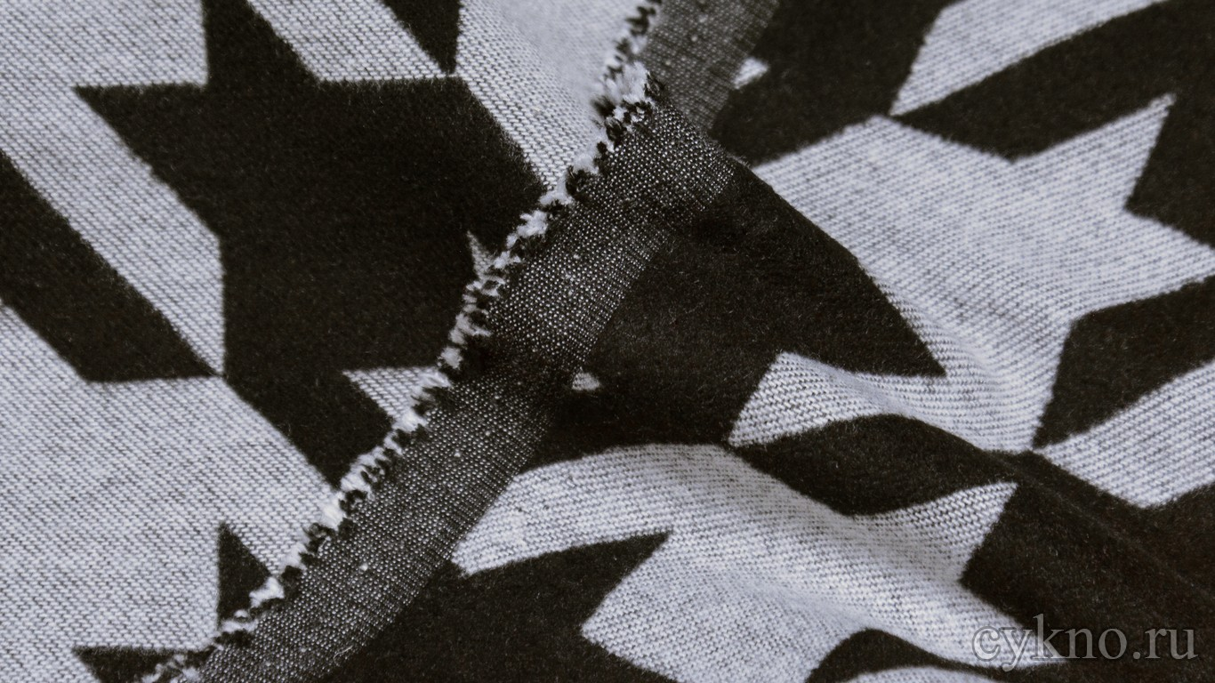 Ткань Пальтовая гусиная лапка черно-белая