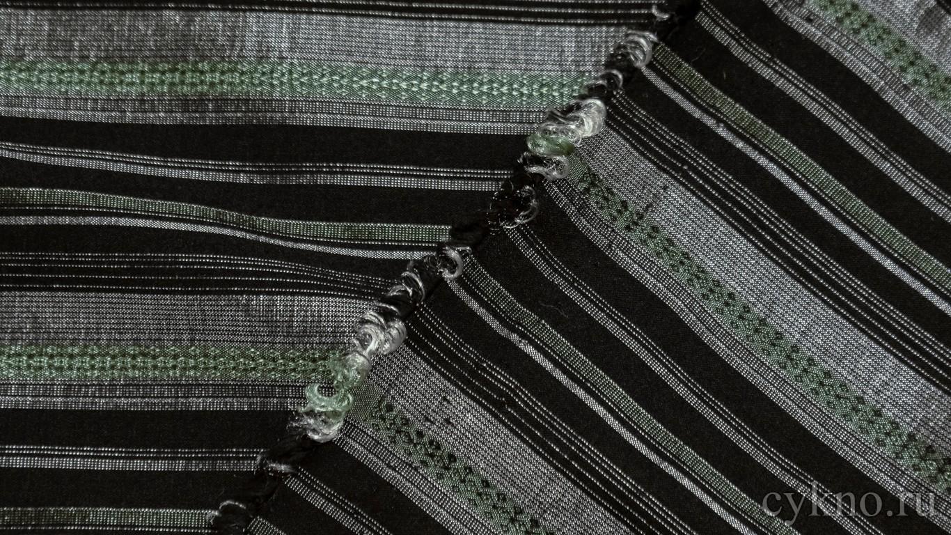"""Ткань Рубашечная """"Серебро в изумрудную и черную полоску"""""""