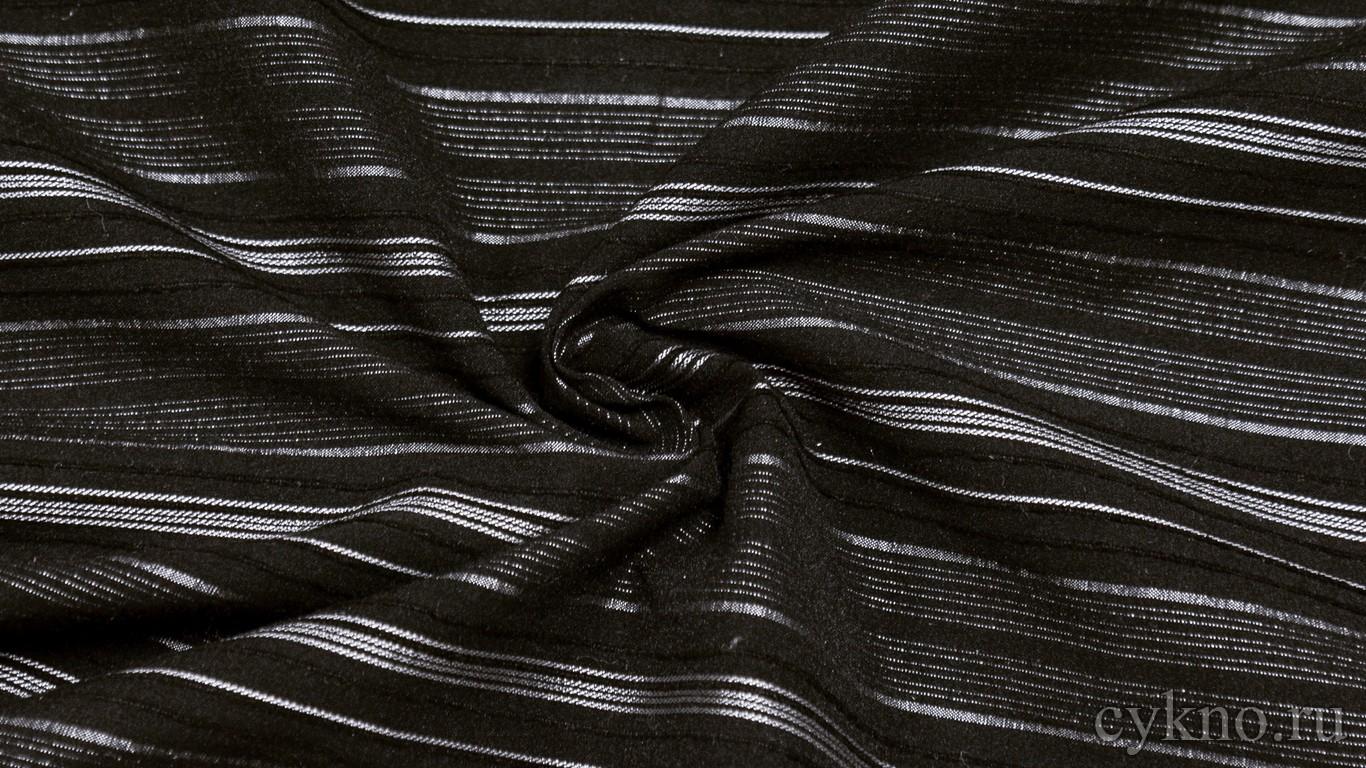 """Ткань Рубашечная """"Серебряные полоски на черном"""""""