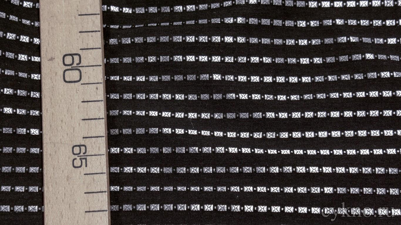 """Ткань Рубашечная """"Серебряные прямоугольники на черном"""""""