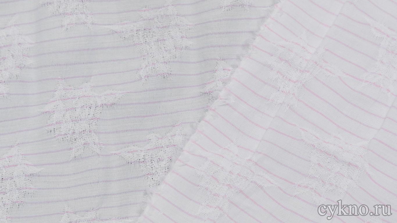 """Вискоза Рубашечная с вышивкой """"Розовые полосы на белом"""""""