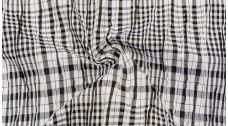 """Ткань Рубашечная """"Черная клетка и белая полоса"""""""
