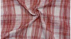 """Ткань Рубашечная """"Белая клетка и красная полоса"""""""