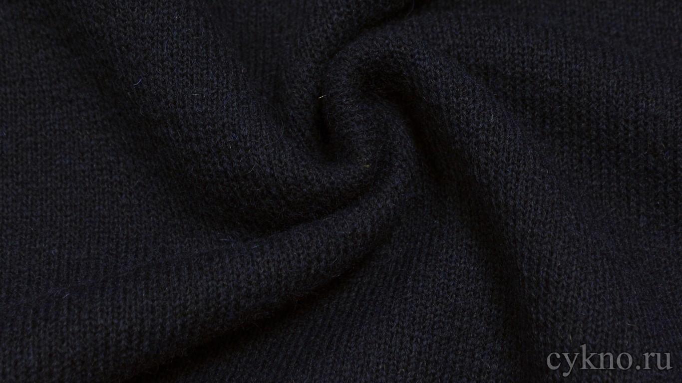 """Ткань Трикотаж Шерстяной вязаный темно-синего цвета """"Империя"""""""