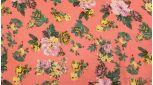 """Шифон Набивной """"Цветы на розовом"""""""