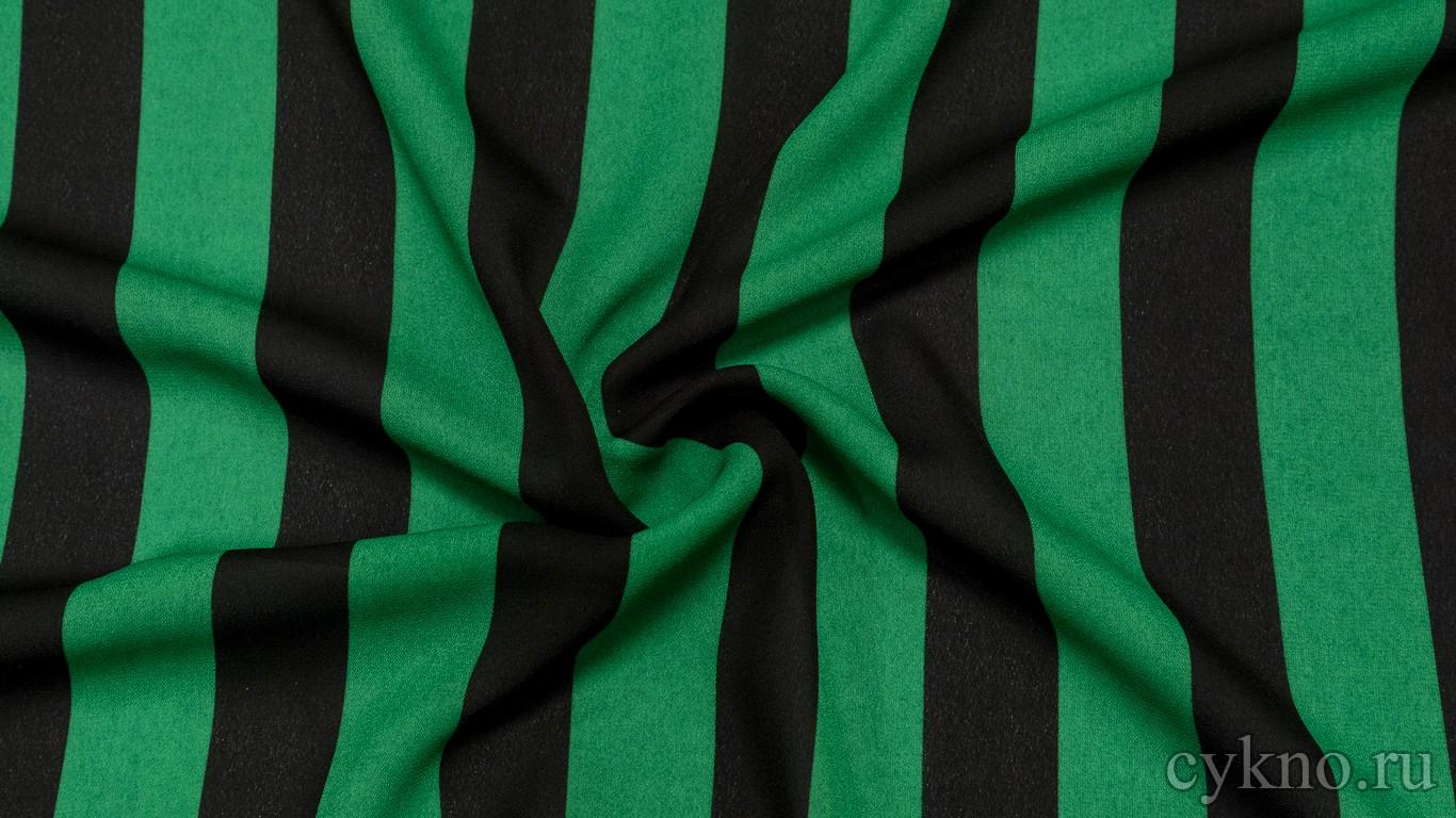 Креп шифон зеленые полосы