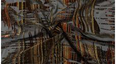 Шифон Набивной Черно-коричневый