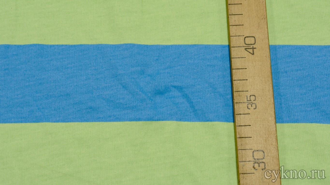"""Ткань Трикотаж хлопковый с принтом """"Голубые и салатовые полосы"""""""