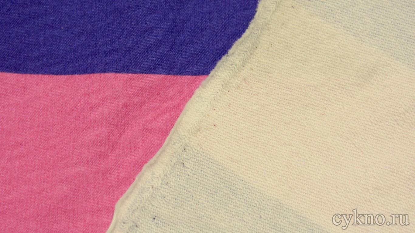 """Ткань Трикотаж хлопковый с принтом """"Синие и розовые полосы"""""""