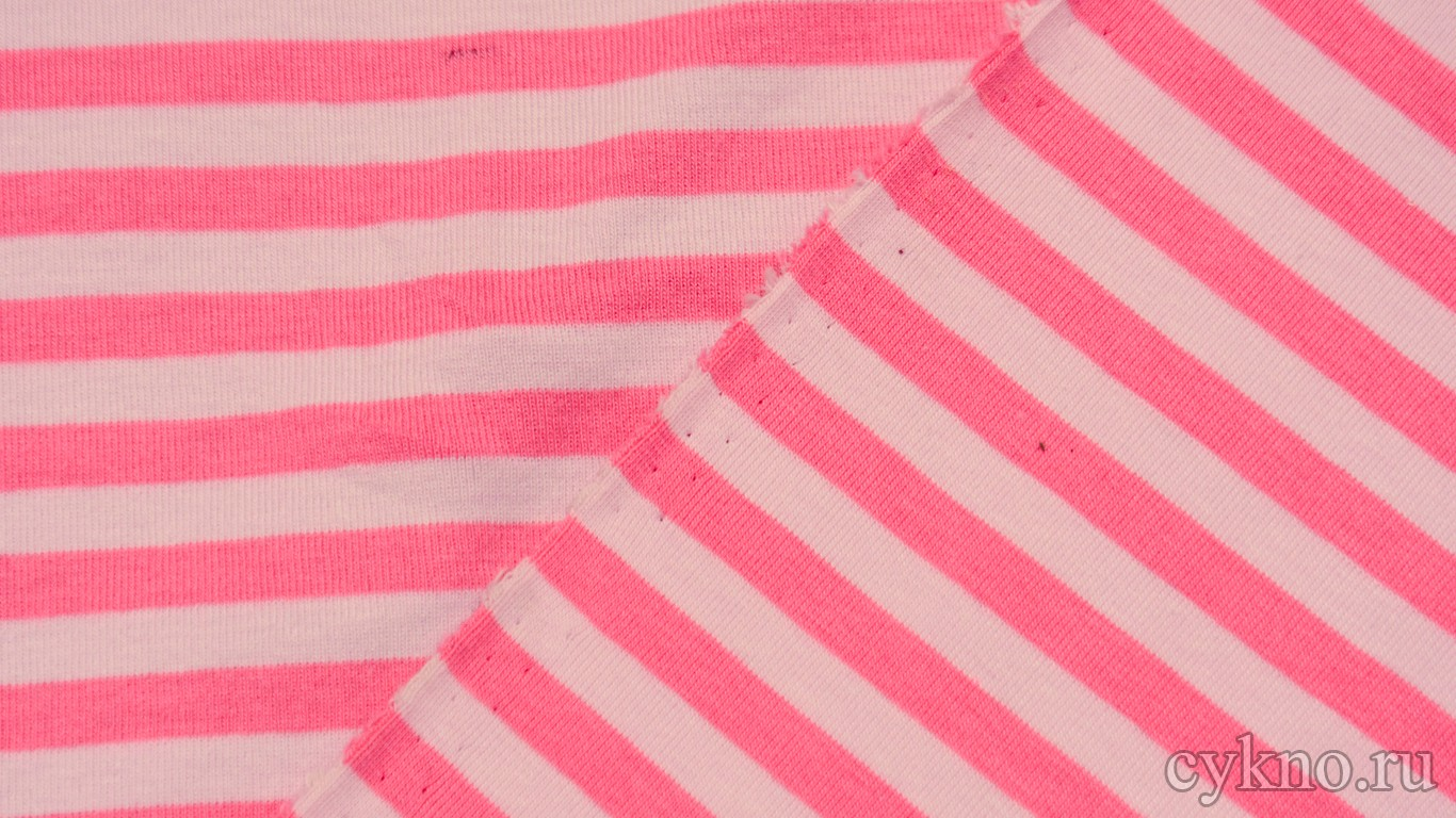 """Ткань Трикотаж хлопковый с принтом """"Белые и розовые полосы"""""""