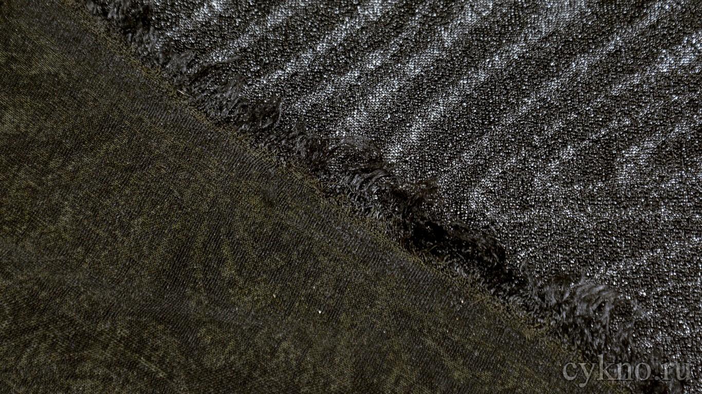 Трикотаж креповый темный с принтом абстракцией