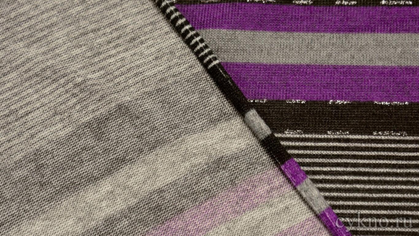 Ткань Трикотаж принтованный с фиолетовыми полосами