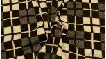 """Ткань Трикотаж плотный с черно-белым принтом """"Клетка"""""""