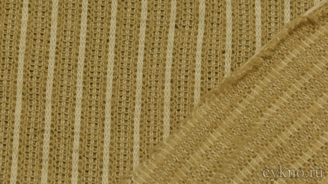 Ткань Трикотаж вязаный в бежевом цвете с добавлением шерсти