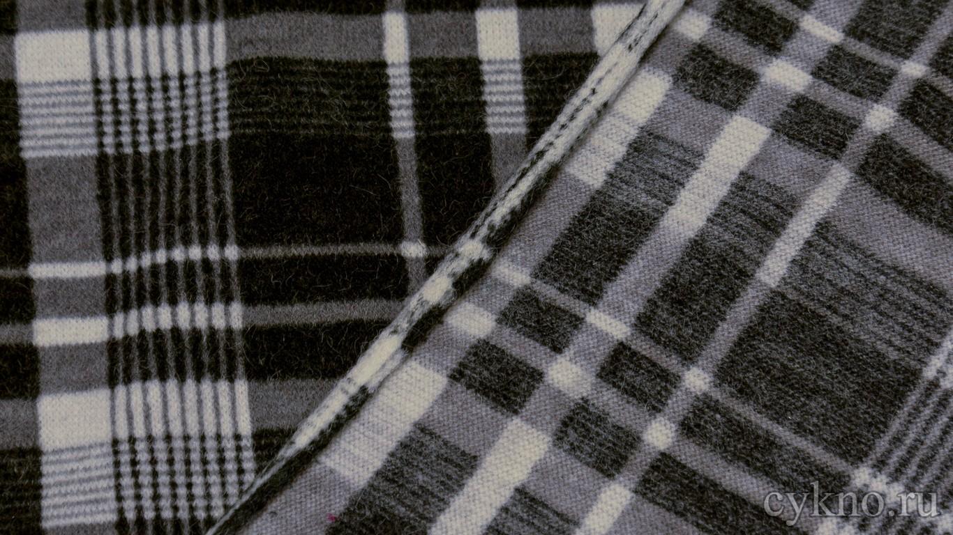Ткань Трикотаж плотный в черно-белую клетку