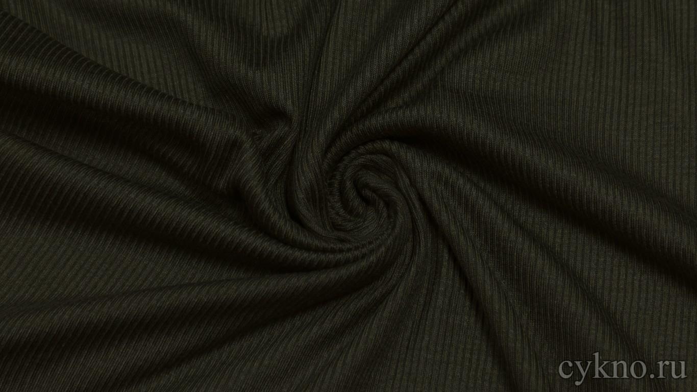 Ткань Трикотаж вискозный черный с зеленым оттенком