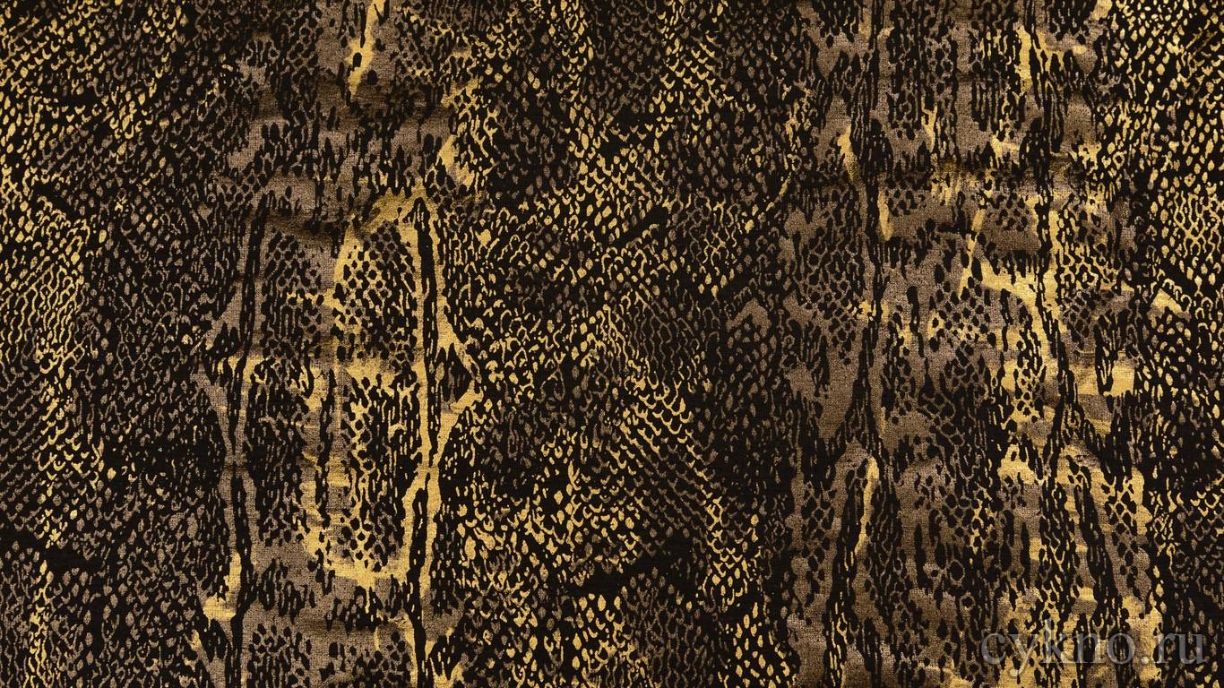 Ткань Трикотаж Черно-золотой