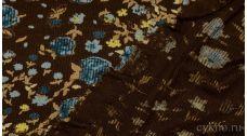 """Ткань Трикотаж """"Синие цветы на коричневом"""""""