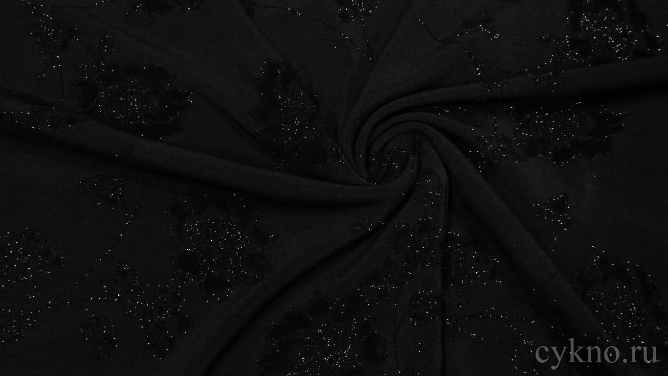 """Ткань Трикотаж """"Розы на черном"""""""