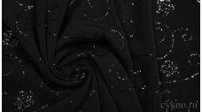 Ткань Трикотаж черный с блестящим вышитым рисунком