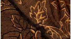 Ткань Твид хлопковый светло-коричневый с цветочным узором
