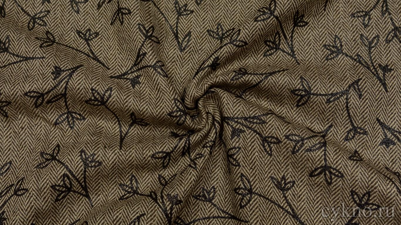 """Ткань Твид хлопковый с цветочным узором """"Кассино"""""""