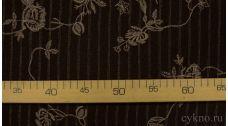 """Ткань Твид шерстяной темно-коричневый с вышивкой """"Каорле"""""""