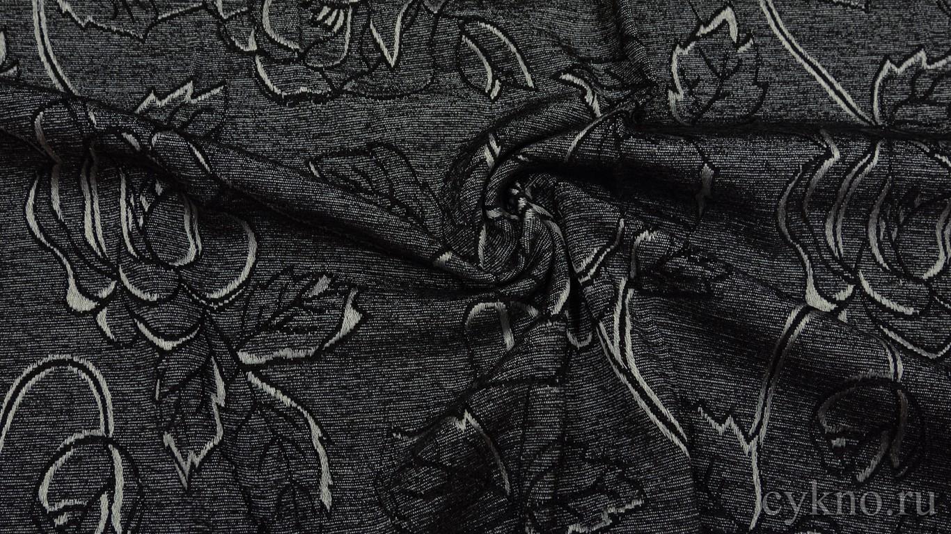 """Ткань Твид серый хлопковый с узором """"Цветы"""""""