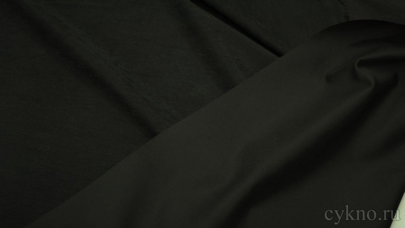Плательная ткань с эффектом замшы черная