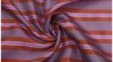"""Ткань Жаккард """"Сиреневые и красные полосы"""""""