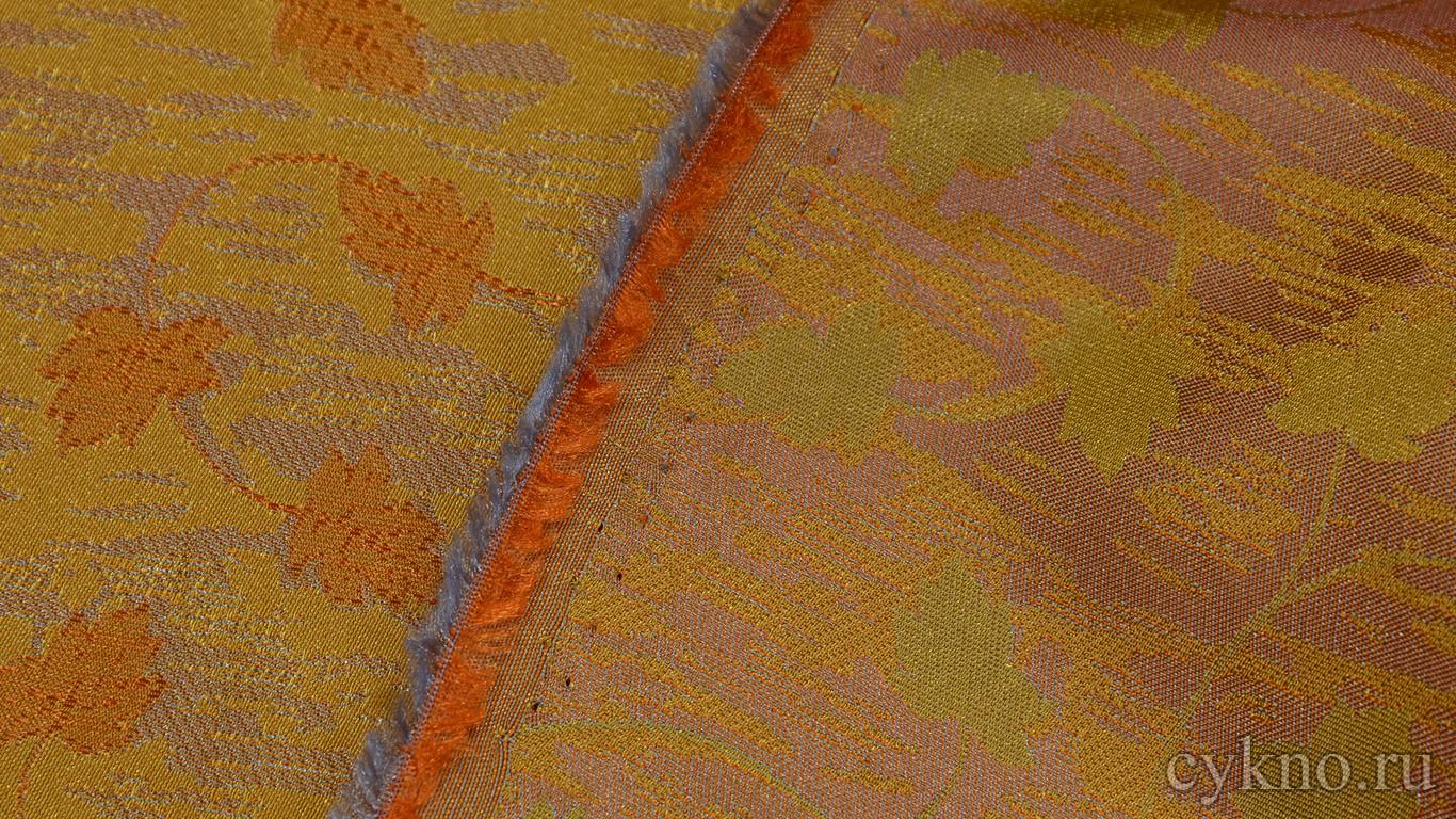 """Ткань Жаккард """"Кленовые листья на золотом"""""""