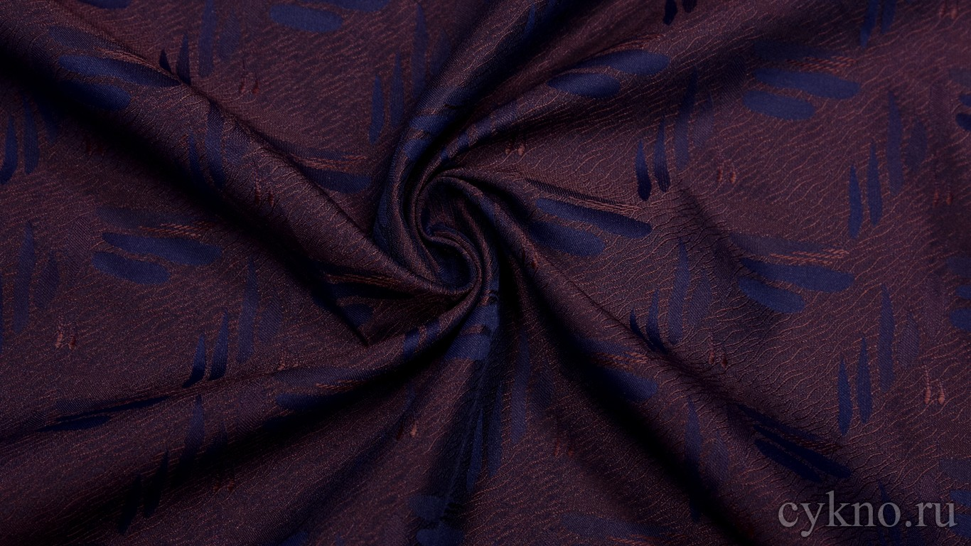 """Ткань Жаккард """"Синие перья на фиолете"""""""