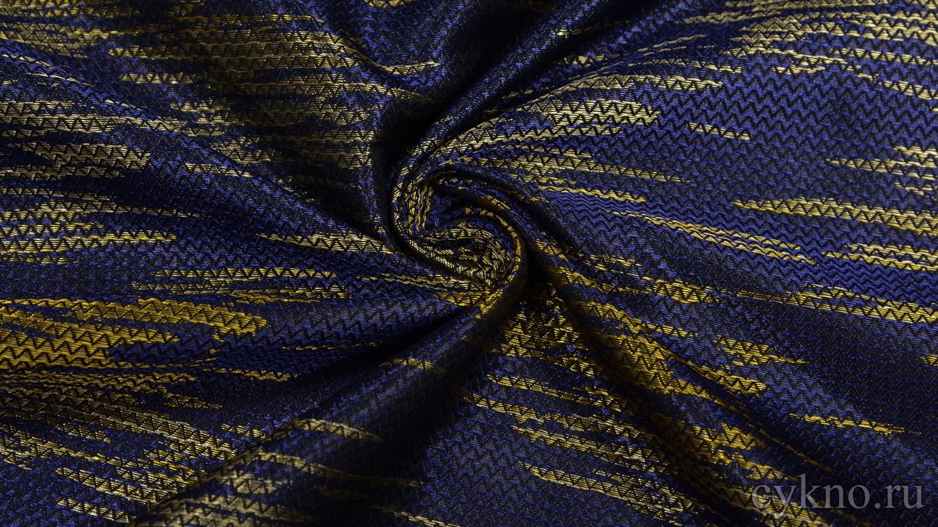 """Ткань Жаккард """"Золото на синем"""""""