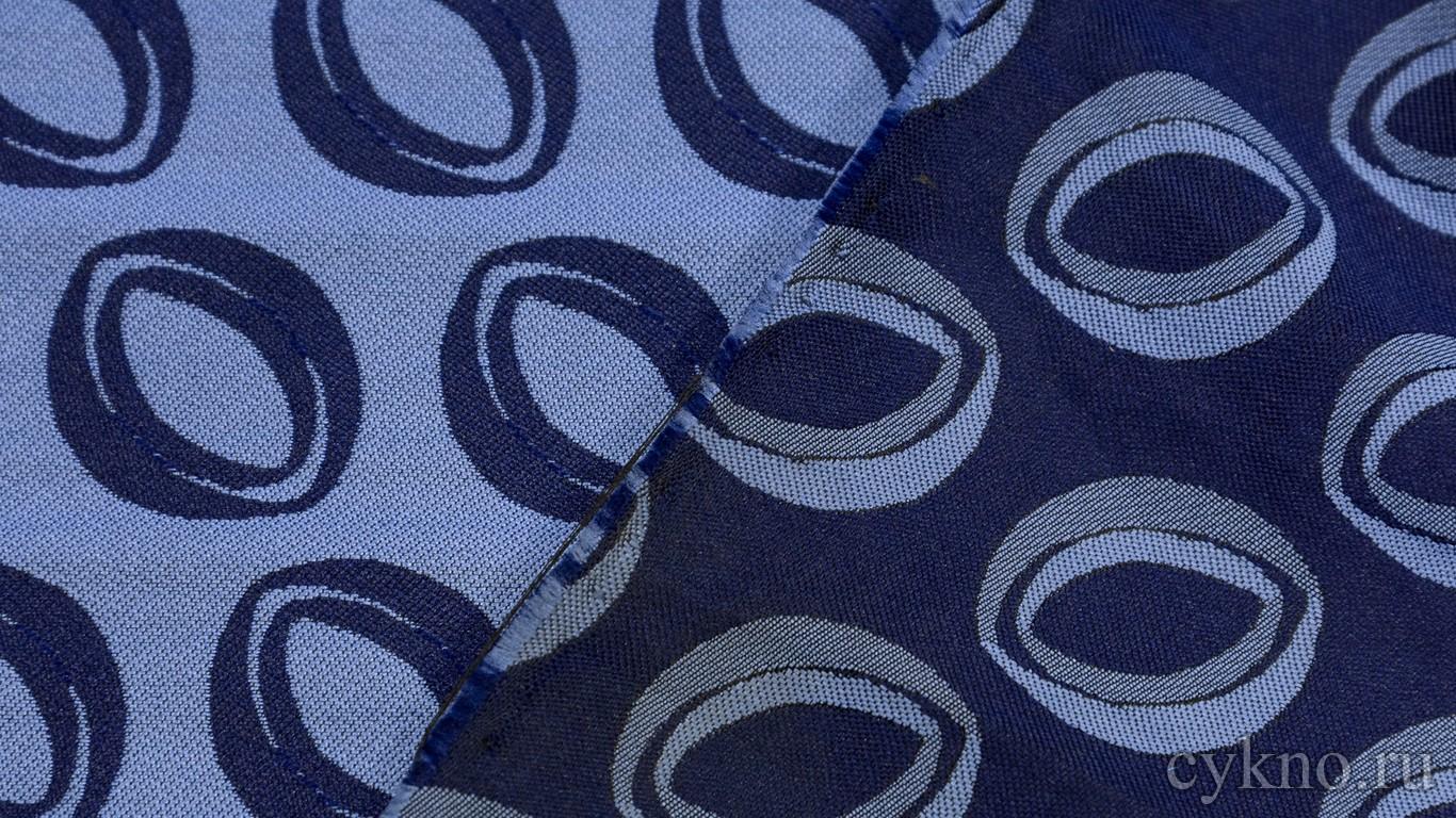 "Ткань Жаккард ""Синие колечки на голубом"""