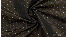 """Ткань Жаккард """"Разноцветные точки на коричневом"""""""