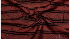 Ткань Жаккард Хлопковый бордовый в черные полосы