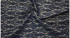 Жаккард хлопковый темно-синий