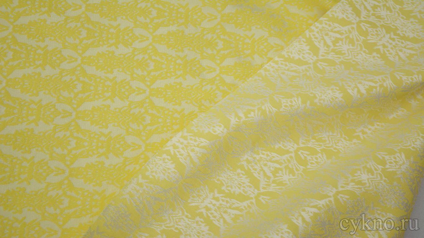 Жаккард хлопковый ярко-желтый