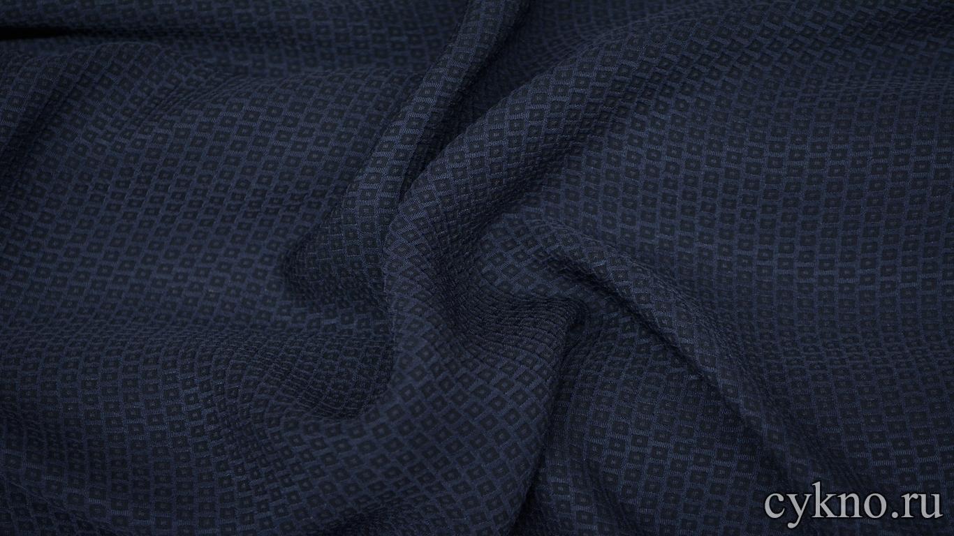 Вискоза костюмная темно-синяя с тиснением