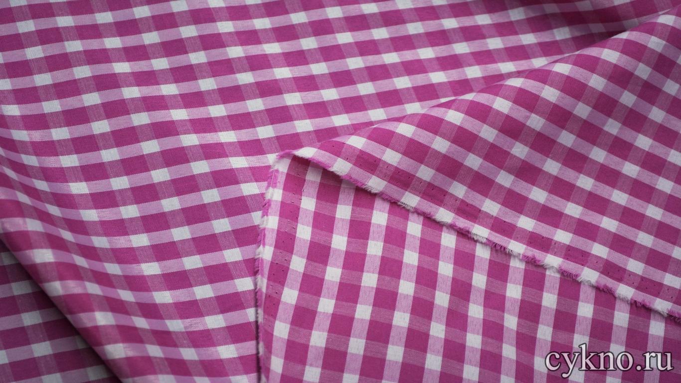 Хлопок рубашечный клетка розовая