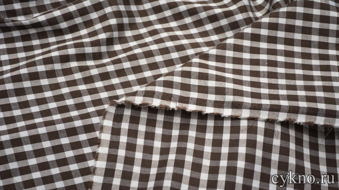 Хлопок рубашечный клетка коричневая