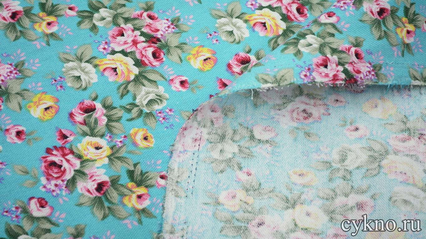 Лен костюмный розы на бирюзовом